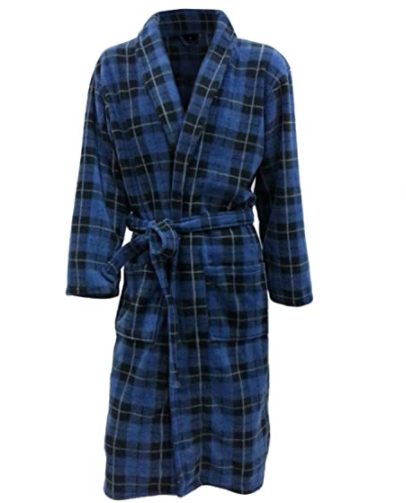 John Christian Men's Fleece Robe Blue Tartan