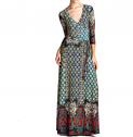 On Trend aris Bohemian 3/4 Sleeve Long Maxi Dress